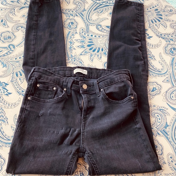Zara black distressed jeans
